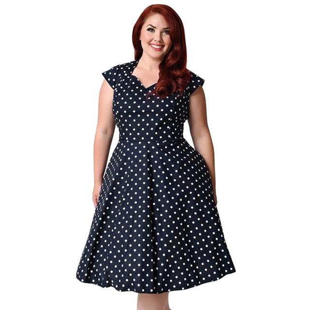 630f3109fc9 Kenancy Plus Size 9XL Hepburn Women Vintage Dress Polka Dot Print V Neck Cap  Short Sleeves Retro Dress Elegance Party Vestidos