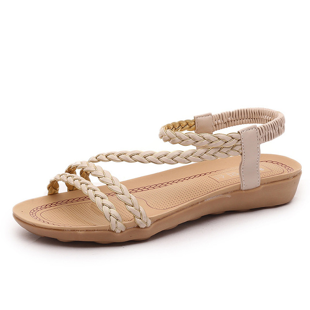 Women Sandals Summer women shoes Women Flip Flops Slip-on Summer Ladies Flat Sandals chaussure femme Sandalias Pink Beige
