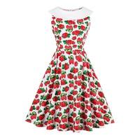 Sisjuly 2017 New Summer Women 1950s Retro Dress Red StrawBerry Print Knee Length Dresses Zippers Female