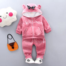 Baby girls autumn clothing sets toddler casual cotton warm thick velvet coats+pants 2pcs tracksuits for bebe girls infant outfit(China)
