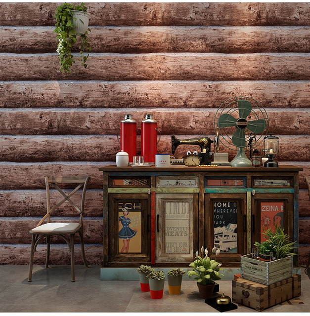3D Retro Nostalgia Restaurant Coffee Wallpapers Waterproof PVC Vinyl  Vintage Wall Paper Roll Wood Grain Wallcoverings 10Mx53CM fe026eff3f8e