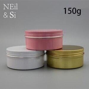 150 г алюминиевый многоразовый контейнер бутылочка для косметического крема пустые винтовые крышки контейнеров черный розовый золотой белы...