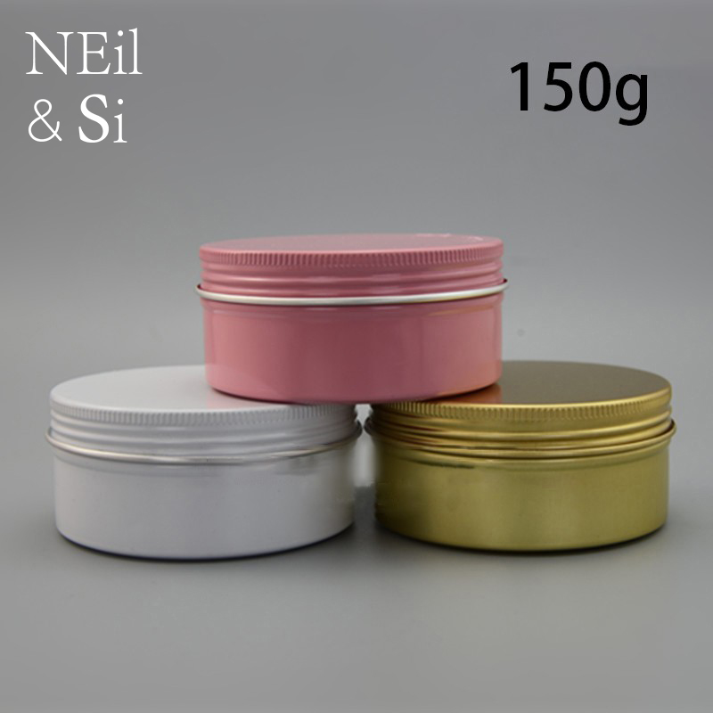 150g Aluminum Jar Refillable Cosmetic Cream Bottle Empty Screw Cap Containers Black Pink Gold White Silver Lotion Tins 6 pcs 15g 30g 50g 1oz empty upscale refillable black cosmetics cream glass bottle container pot case jar with black lid