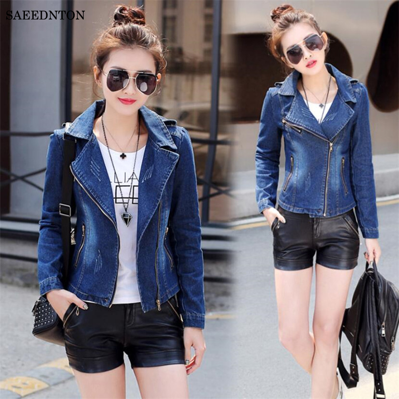 2018 Slim Light Washed Long Sleeve Streetwear Jeans Jacket Short Style Coats Autumn Spring Women Washed Ripped Denim Jacket