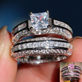 2016 high quality bling bling white gold clear Cubic zirocnia square shape big stone nice wedding engagment ring cheap