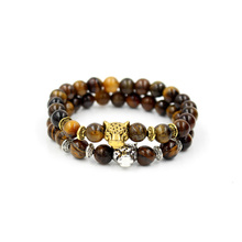 Drop Shipping Fashion Gold Color Leopard Head Charm Buddha Bracelet Tiger Eye Stone Bead Men Womens Elastic Jewelry