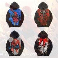 Adult Kids Spider Man Costumes Peter Benjamin Parker Spider Man Cosplay high qualit Printed Zip Hooded Sweatshirt Jacket