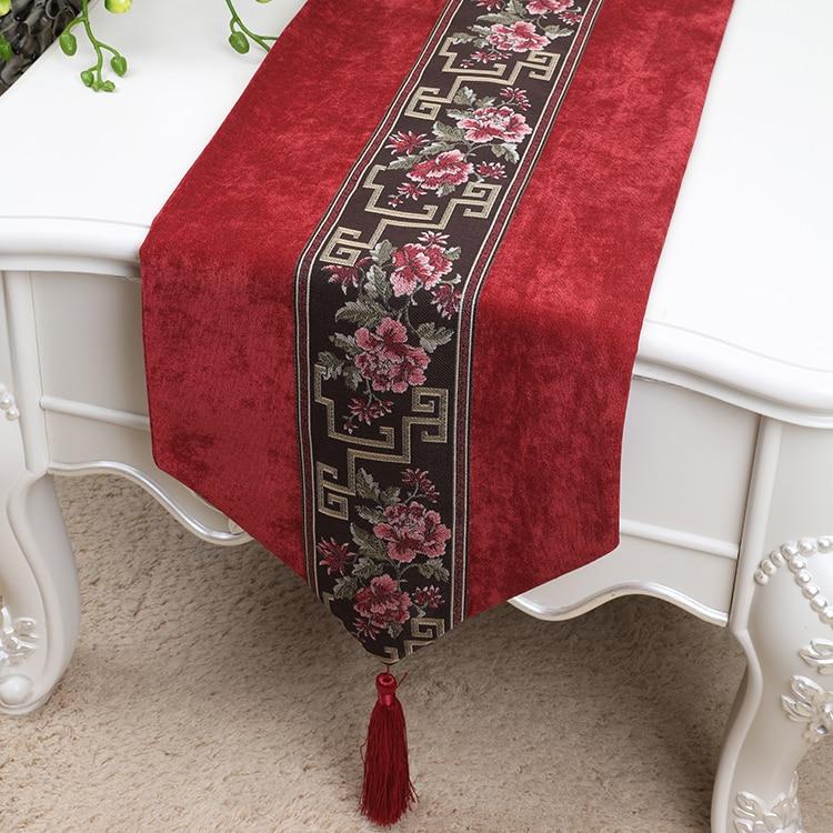 Chemin de Table en velours brodé élégant moderne pour décor de mariage de noël nappe de fleurs chinoises tapis de Table à manger en dentelle
