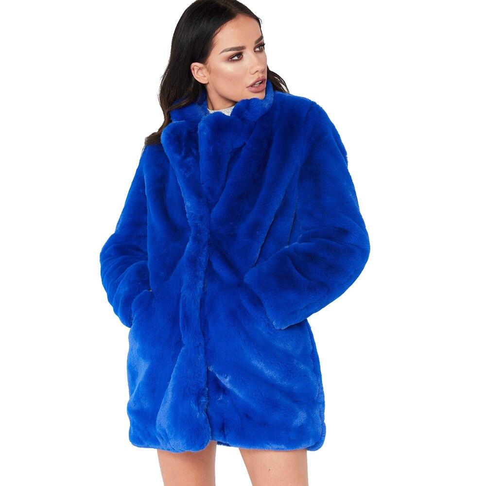 Femmes hiver lâche moelleux fausse fourrure manteau bleu filles épais chaud fourrure veste coupe-vent mode Long pardessus dames vêtements chaud