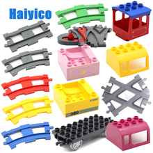 Track Combination Big Building Blocks Bricks Rail Train Cabin Vehicle Accessories Compatible with Duplo Sets Baby DIY Toys Gift цены