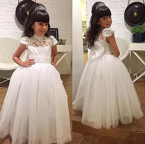 White Flower Girl Dresses Special Occasion For Weddings Floor Length Kids Pageant Gowns Appliques Communion Dress