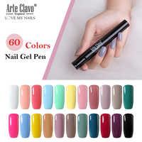 Arte Clavo UV Unha Polonês Gel Glitter Caneta Gel Lápis Caneta Verniz de Unhas de Gel UV Polonês Nail Art Manicure 60 cores Precisa de Base Superior