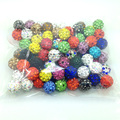 100pcs 10mm Shamballa Beads Clay Pave Rhinestone Crystal Shamballa Beads for DIY Bracelet Necklace Jewelry Mix color