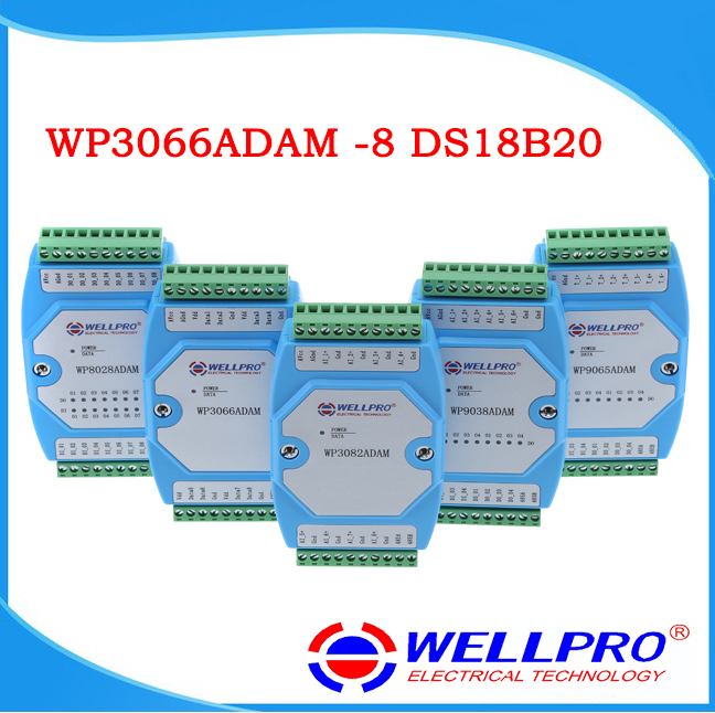DS18B20 Temperature Acquisition Module, 8 Way RS485 MODBUS Communication WP3066ADAM 4 way thyristor dimming module rs485 modbus