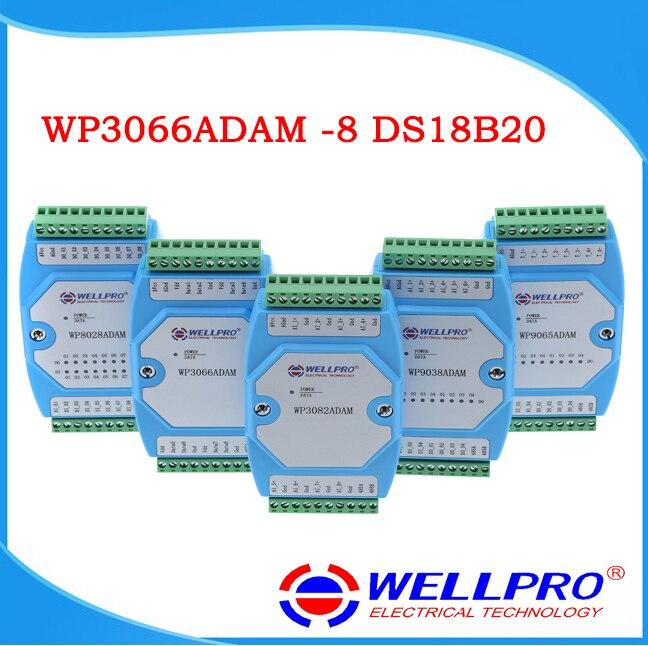 DS18B20 Temperature Acquisition Module, 8 Way RS485 MODBUS Communication WP3066ADAM