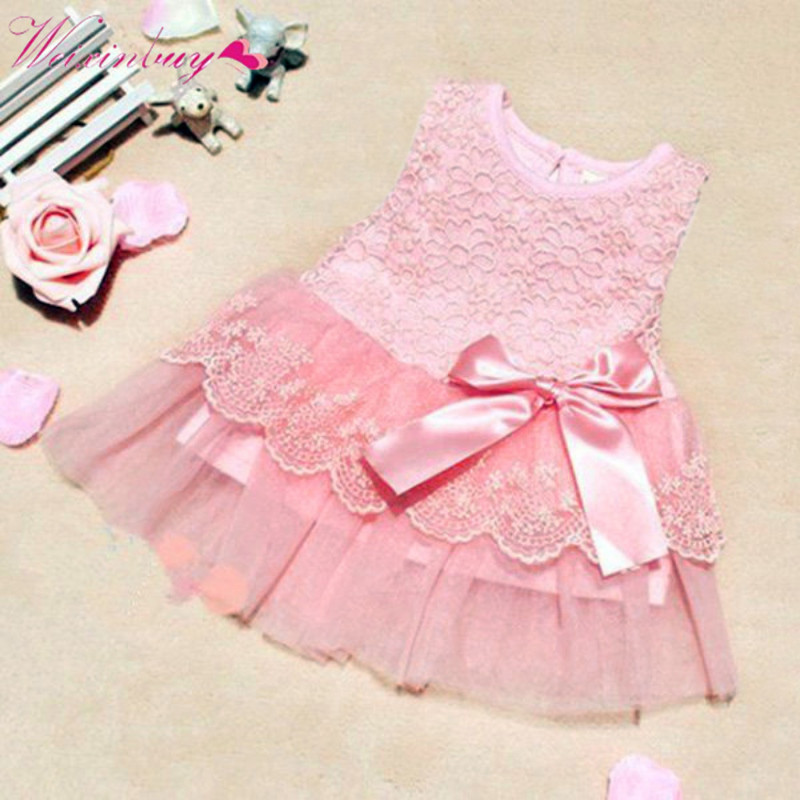 Baby Girls Sleeveless Lace Crochet Princess Dress Kids With Bow Belt O neck Mini Party Mesh Tutu Dresses