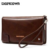 TigerTown Hot Business Men Hand Bag Men 100% Cowhide Genuine Leather Purse Clutch Wallet Bag Man Large Capacity Phone Bag