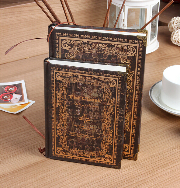 Classical Flower Vintage Notebook Fashion Diary Hardcover Notepad for Gift
