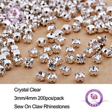 200Pcs Shiny Sparkle Crystal Clear Strass Sew on Rhinestone Stones for Clothes Dress Handbag Sewing Rhinestone Decoration DIY(China)