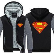 2017 New Listing mens Fashion hoodies Thicken Fleece Fashion Cool Zipper Sweatshirt Men Superman Heros Hoodies Jackets Plus size