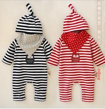 New Spring Autumn Infant Baby Girls Striped Cartoon Rompers Kids Boys and Girls Cotton One piece 2016 Babies Romper