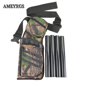 Image 1 - Archery Arrow Quivers Adjustable Belt Shoulder Strap 4 Tubes Camo Arrow Bags Training Hunting Shooting Bow And Arrow Accessories