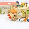 Bebê Carro Alfanumérico Cognição Forma Geometria Cor Rodada Bead Fio Preschool Educação Puzzle Trator Animal Brinquedo De Madeira de Matemática