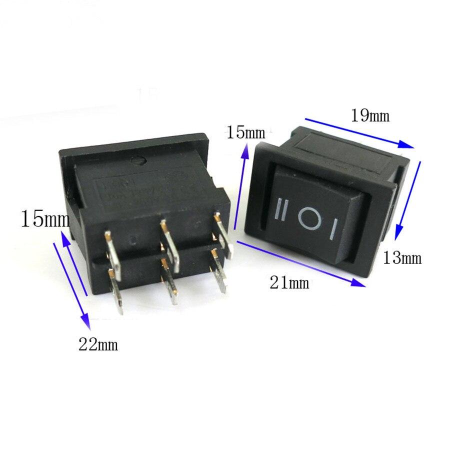 ୧ʕ ʔ୨1 unid j342 6 Pasadores rockero plástico negro interruptor ...