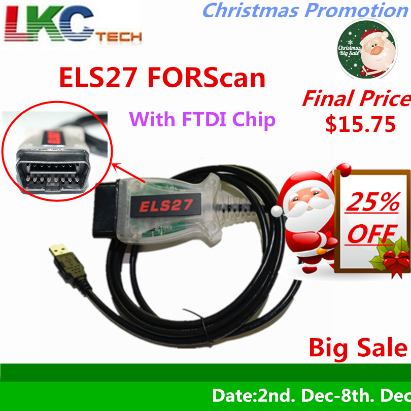 2018 Date ELS27 FORScan Fonctionne Pour Ford/Mazfa/Lincoln/Mercury ELS 27 Scanner Vert PCB Puce FTDI + PIC24HJ128GP Gratuite Livraison