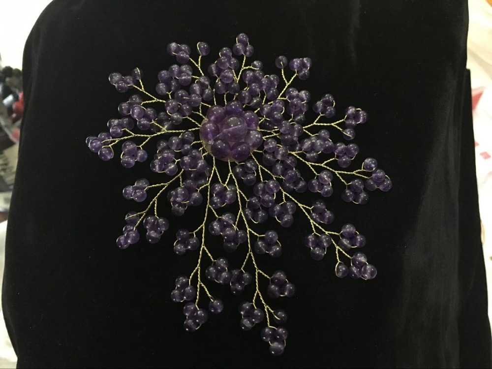 latest design 4 inch 4mm purple Natural Stone beads leaf and flower shape Brooch цена