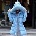 Nuevo 2016 de La Moda abrigo de Invierno de Las Mujeres Cuello de Piel Gruesa Chaqueta de Invierno Cálido mujeres Con Capucha de Down Parkas Feminina