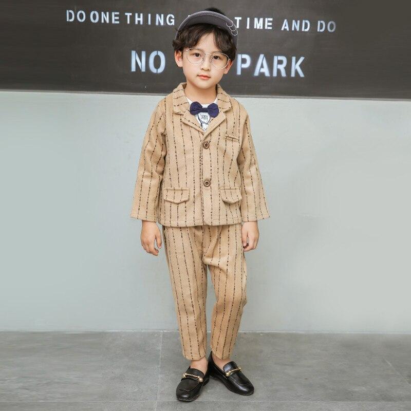 2018 nouveauté garçon costumes angleterre Style garçons Blazer à manches longues Plaid pour enfants vêtements