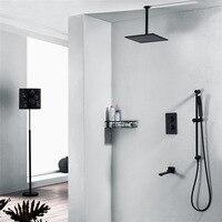 Черный тропический душ, водопад краны, ванная комната скрыта смеситель, настенные смесители для душа, дома душ adattamento