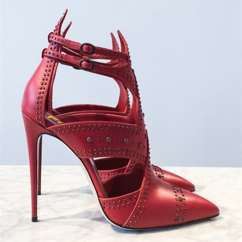 Hebilla Pendientes Mujeres De Las Botas Tobillo Mujer Zapatos Tacones Pie Rojo Sexy Dedo Verano Puntiagudo Delgada Para Del fBZFwOn