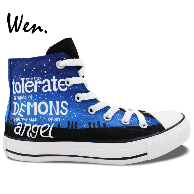 Wen Design Custom Hand Painted Shoes Doctor Who Tolerate Demons Angel Blue Men Women's High Top Canvas Sneakers for Gifts