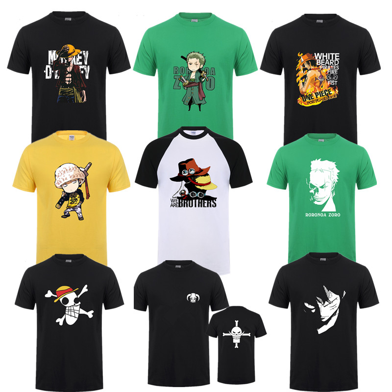 Summer One Piece T Shirt Men Monkey D Luffy T Shirts New Short Sleeve Cotton Anime Zoro Ace Law T-shirt Tee