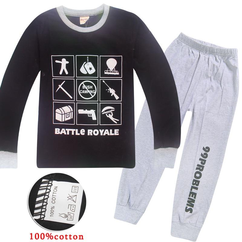 100% Cotton Boys Battle Royale Christmas   Pajamas   Children's Sleepwear Girls Ps4 Gaming Night Wears Kids Pyjamas Pijamas Pjs   set