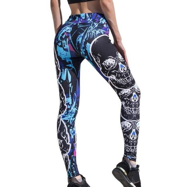 Women Skull Print Leggings High Waisted Workout Leggings