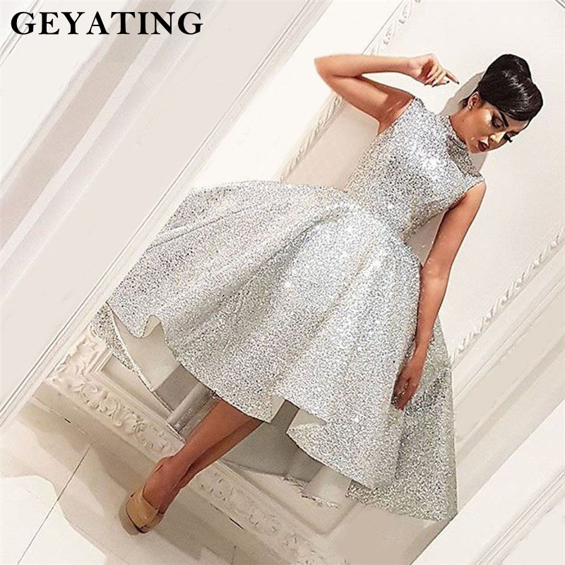Vintage Short Ball Gown   Prom     Dresses   2018 Silver High Neck Tea Length Party Gowns Arabic High Low   Prom     Dress   Vestidos de festa