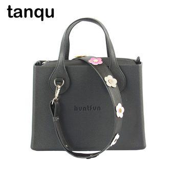 huntfun EVA square handbag with D buckle flat handle rivet flower strap leather inner  women O bag style shoulder bag Obag