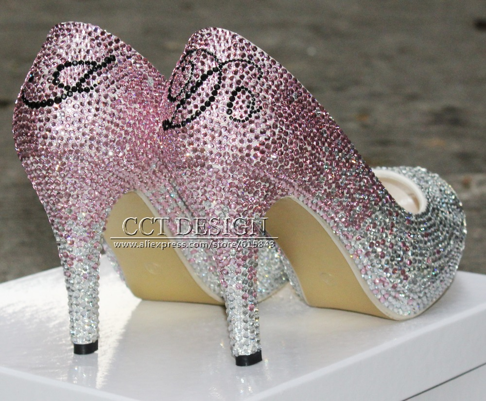 Customized Name High Heels Silver Rhinestone Low High Heeled