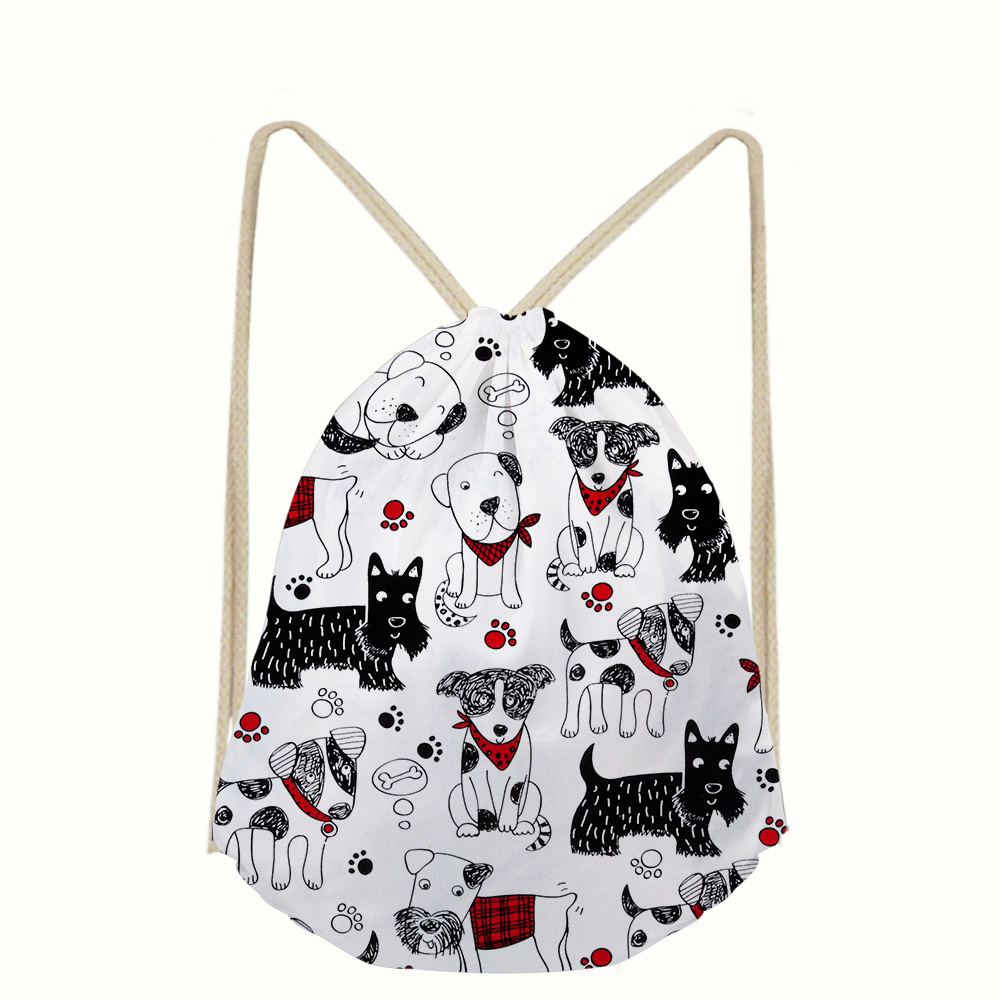 Cool 3D Dog Pattern Animals Print Drawstring Bag Boys School Backpacks Casual Daily Rucksack Mochila Sac A Dos Okul Cantalari