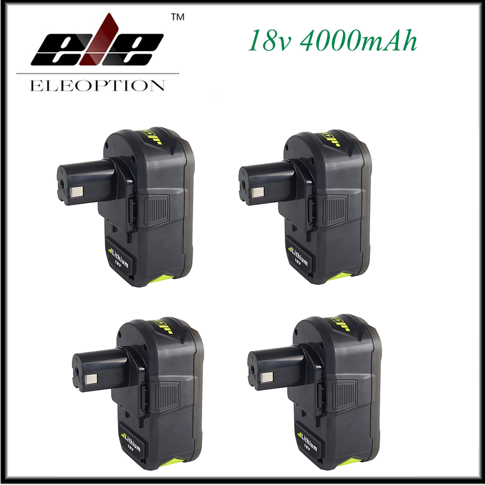 New 4x High Capacity P108 18V 4000mAh Li Ion For Ryobi RB18L40 P300 P400 Rechargeable Power Tool Battery for Ryobi for ONE+
