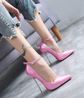 New Pointed Toe Patent Leather Stiletto Ladies Pumps Sexy 13cm Metal Heel Female Single Shoes Woman Party High Heels Shoes