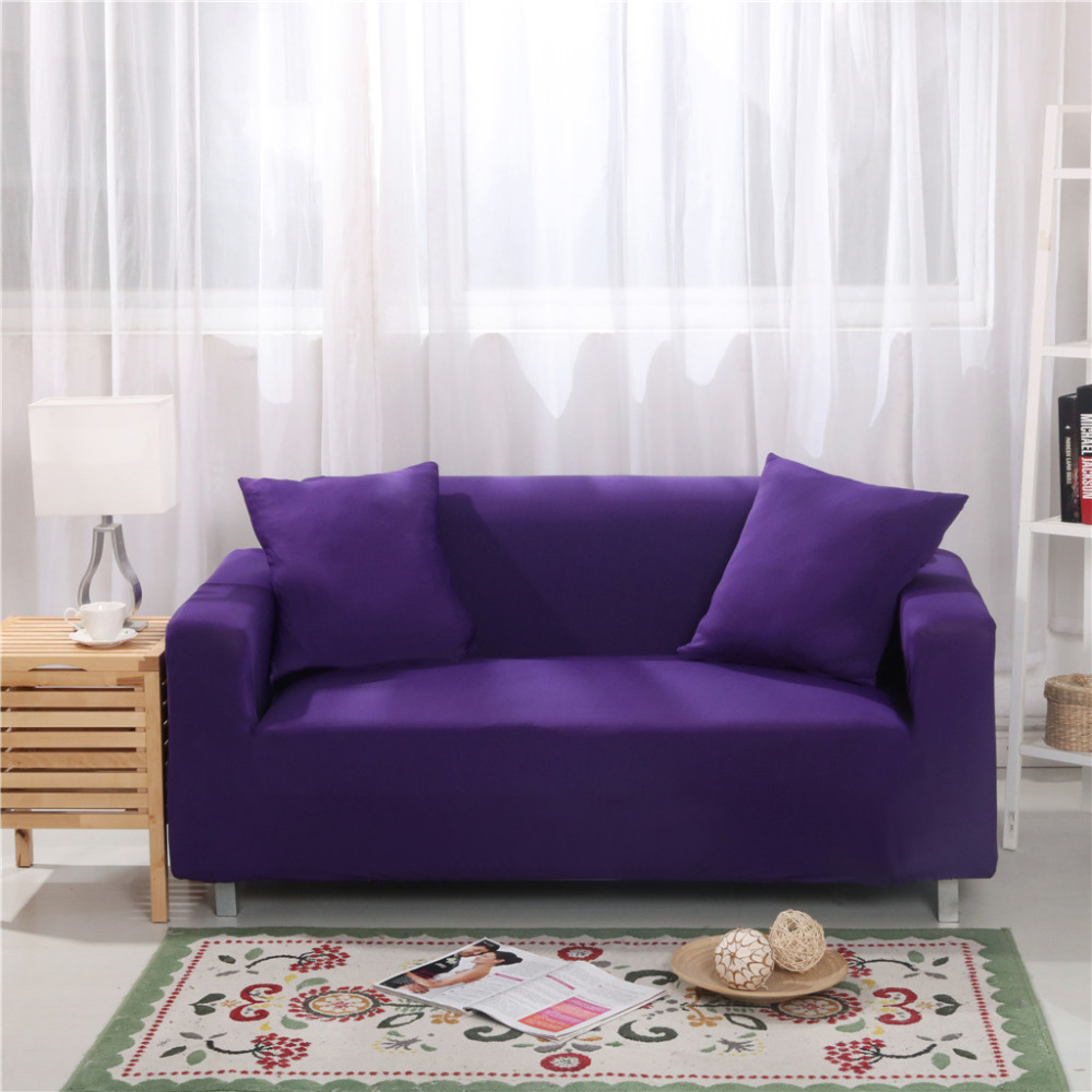 High Quanlity Solid Color Spandex Stretch Sofa Cover Elasticity Polyester Slipcovers Couch Case for different Shape Sofa