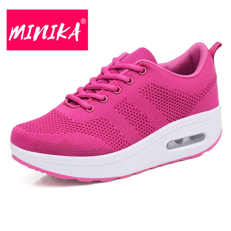 MINIKA Fashion Brand Sneakers Women New Arrival Solid Colors Platform Sneakers for Women Mesh Breathable Women Flat Shoes minika fashion air mesh shoes women breathable