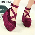 LIN KING Brand Princess Round Toe Wedge Platform Lolita Shoes Japanese Uniform Pumps 8.5 cm High Heels Ankle Strap Single Shoes
