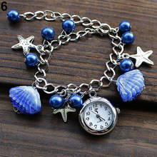 Women's Watch Jewelry Beads Shell Chain Bracelet Cuff Quartz Dress Wristwatches 5J1Y Girl's Gift(China)