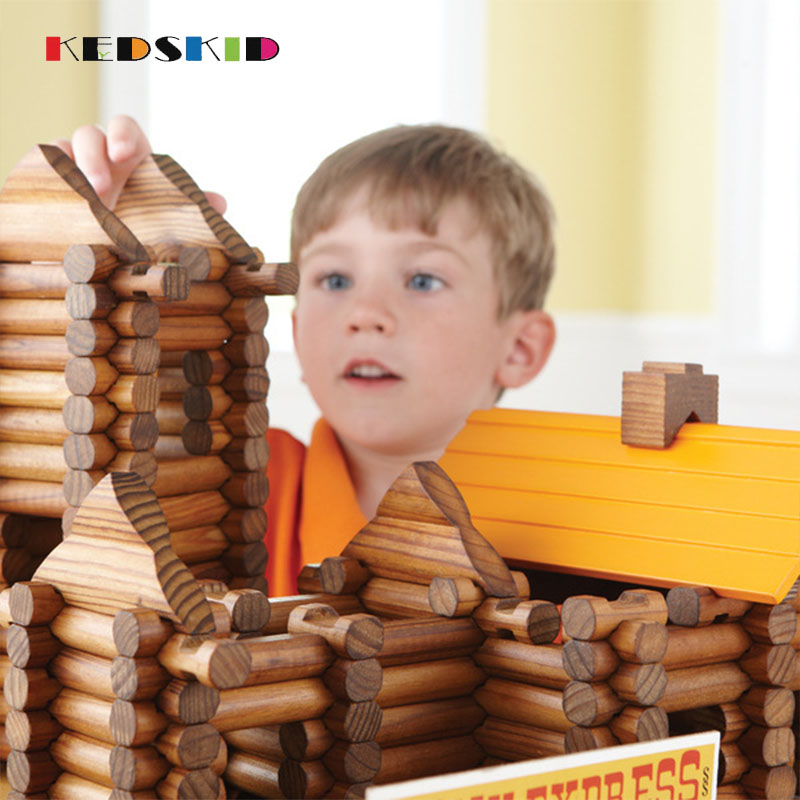 165pcs Forest Log Set Creative Educational Building Blocks Construction Cabin Suit Assembles Toy Wooden Lincoln Room Toys gis chino para chinches