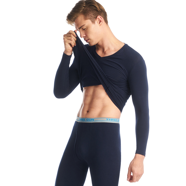 THREEGUN Lycra Undershirts Man Long Johns V- Neck Thermal Underwear Sets Fashion Waistband Male Winter Bottoms Warm Black